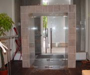 Double entrance glass doors