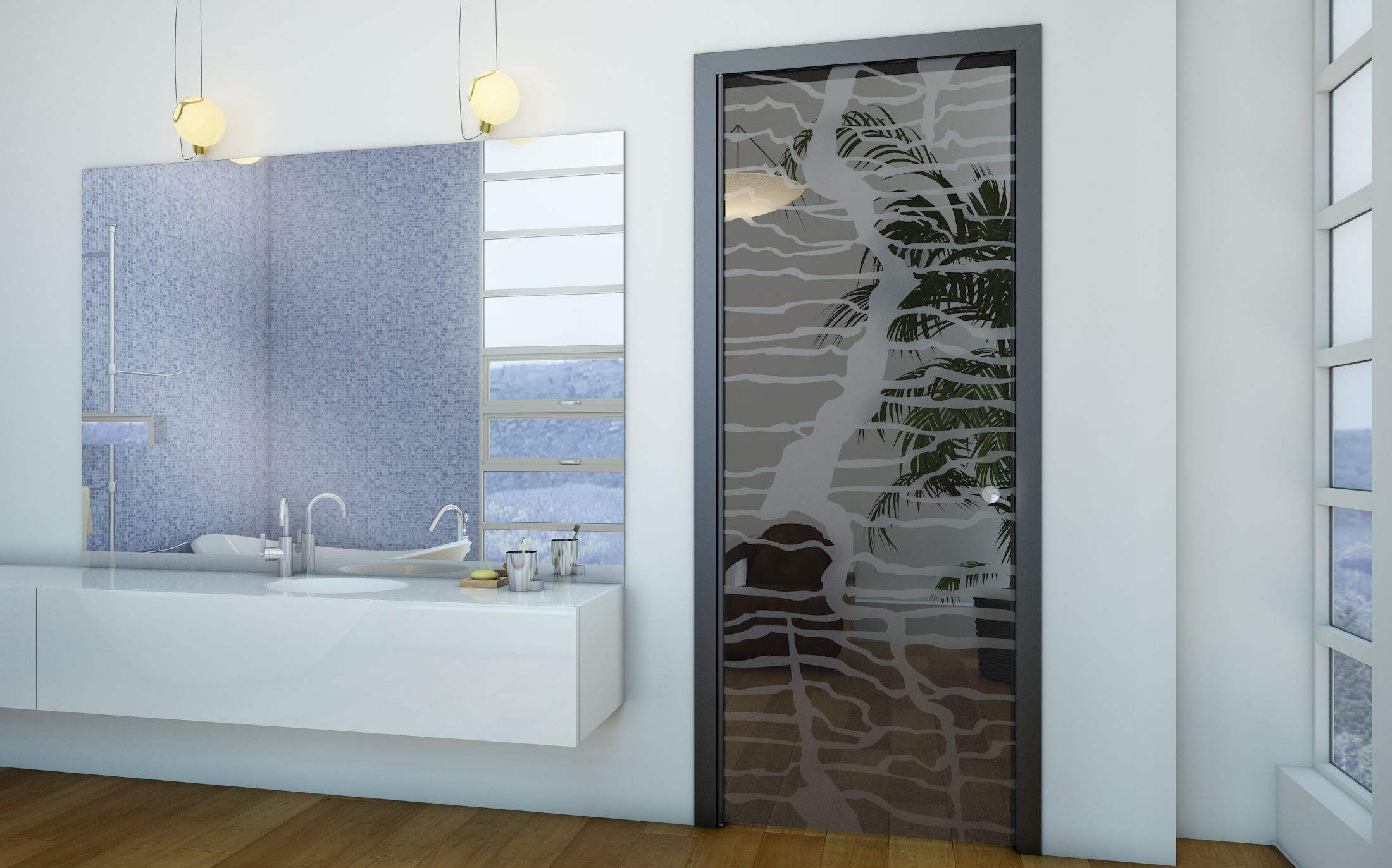 Glass bathroom doors interior