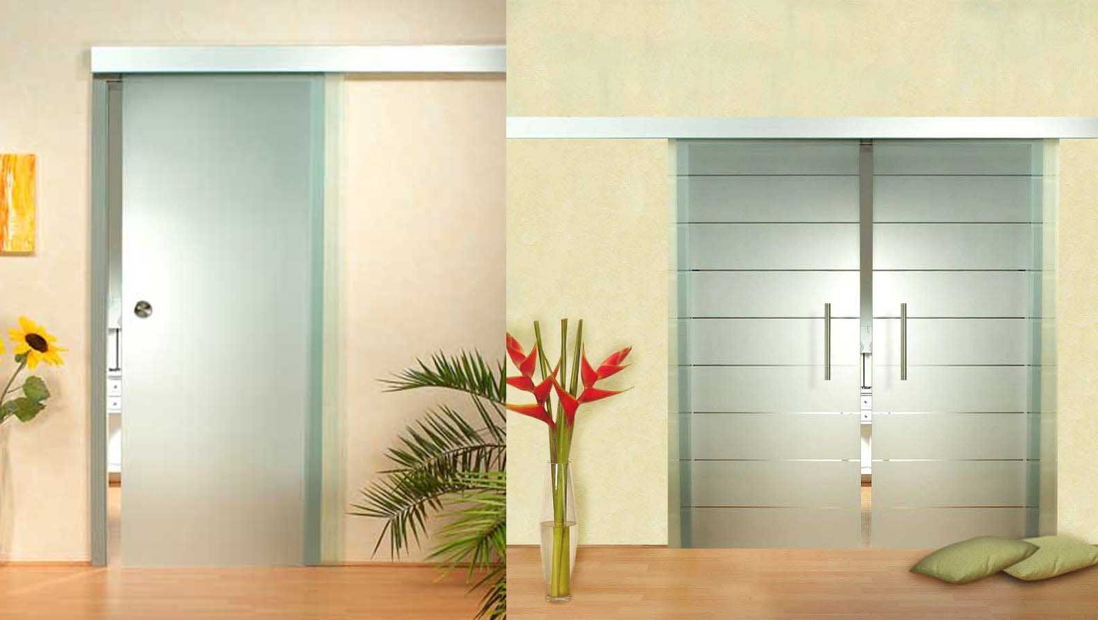 Hinged and sliding glass interior doors