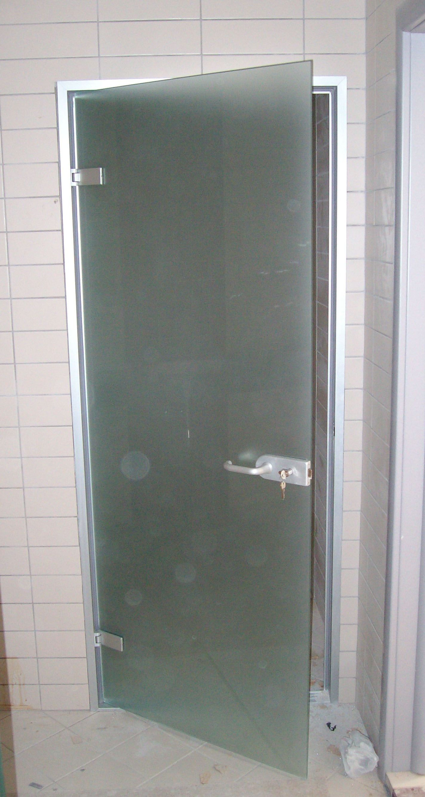 Interior glass door for bathroom and toilet with locks Bathroom glass doors design