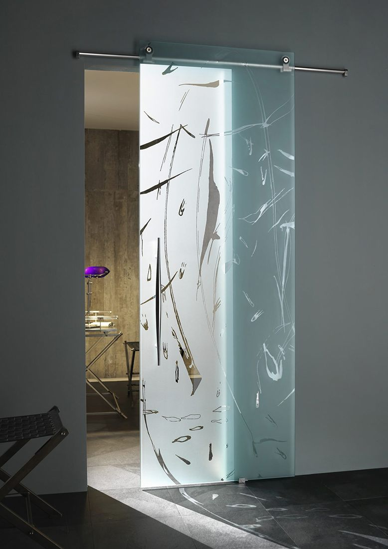 modern glass door in bathroom and toilet