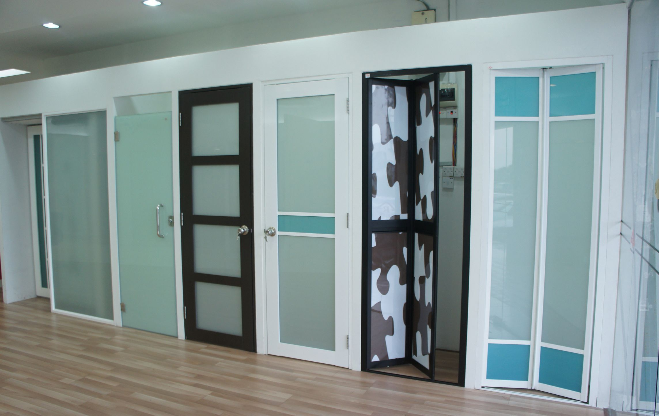 Various styles and colors of plastic doors
