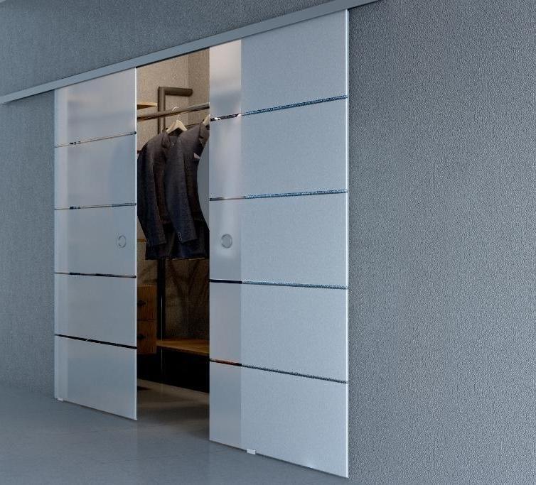 White large sliding glass doors for closet