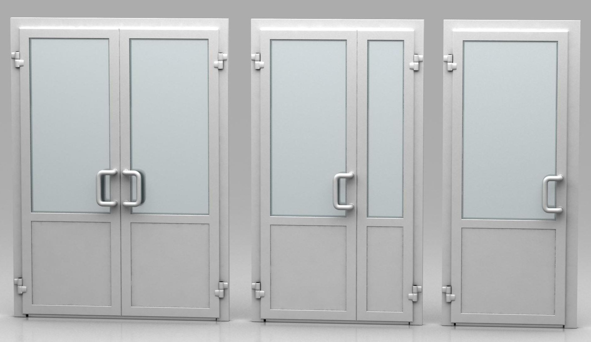 White plastic doors for offices and shops