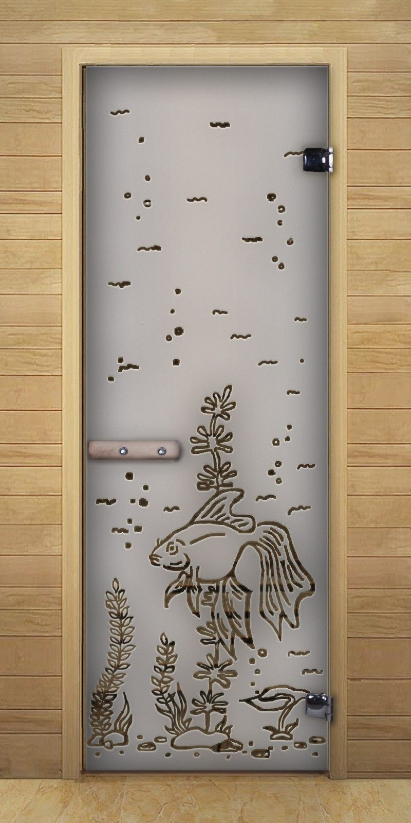 Wooden wall and glass door to the bathroom with a funny image of the seabed