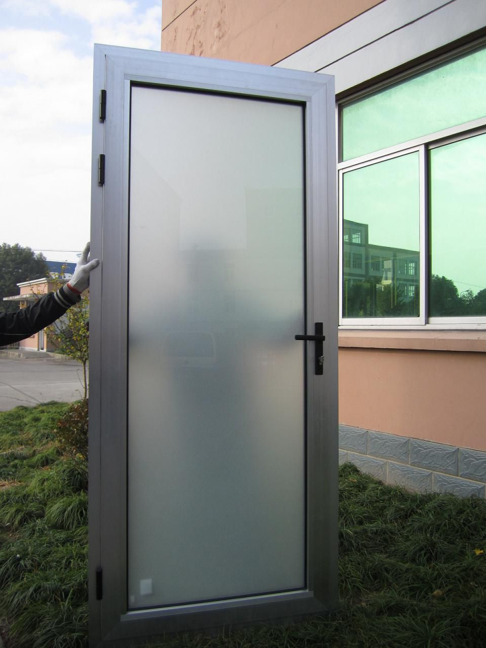 Beautiful aluminium interior door with white frosted glass for Aluminium glass windows and doors