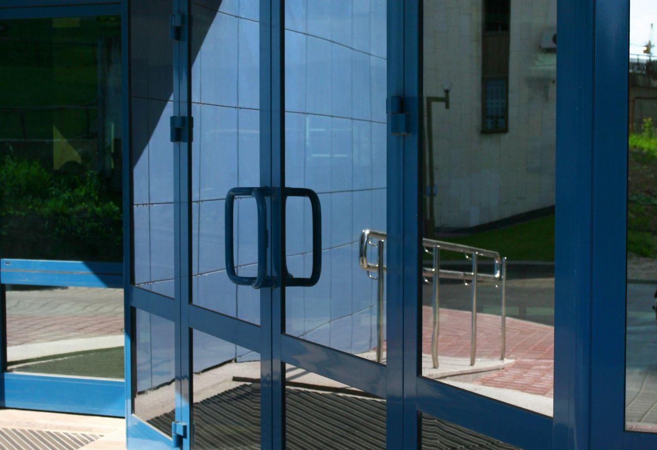 Blue aluminium entry doors