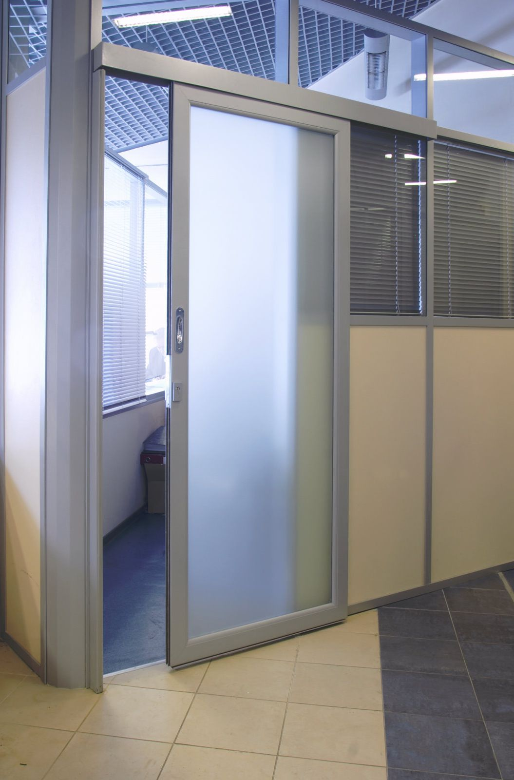 Contemporary commercial aluminum doors with frosted glass