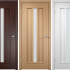 Dark brown, beige and white laminated interior doors