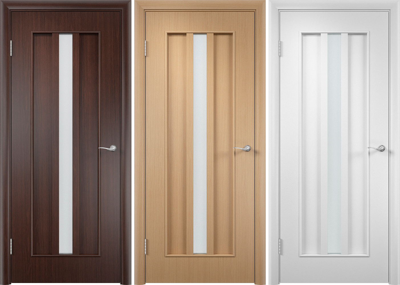 Dark brown, beige and white laminated interior doors