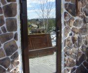 Entrance aluminum door with mirror glass