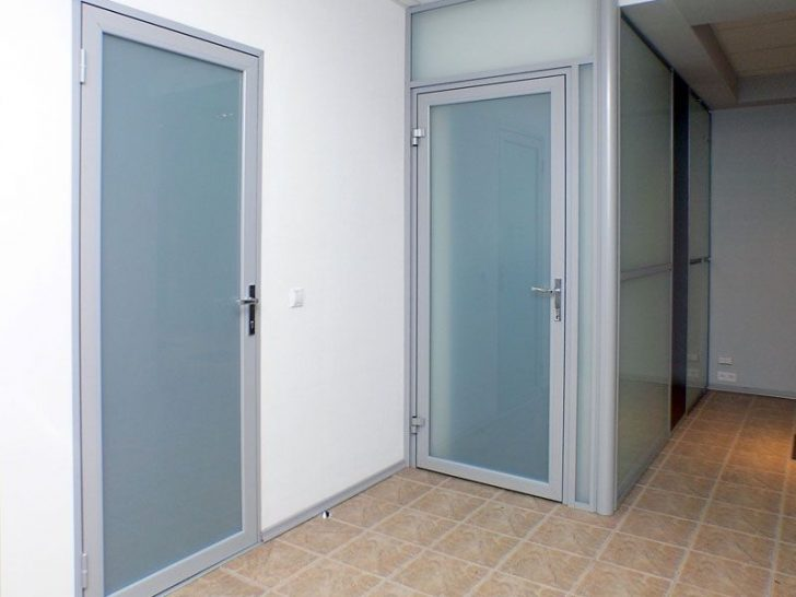 Gray aluminum interior doors