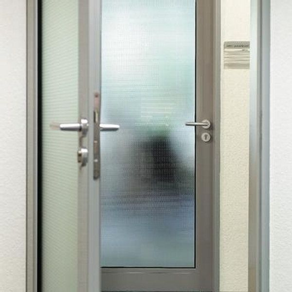 Interior aluminum door with opaque glass