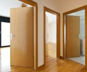 Laminated doors in bathroom and in living room