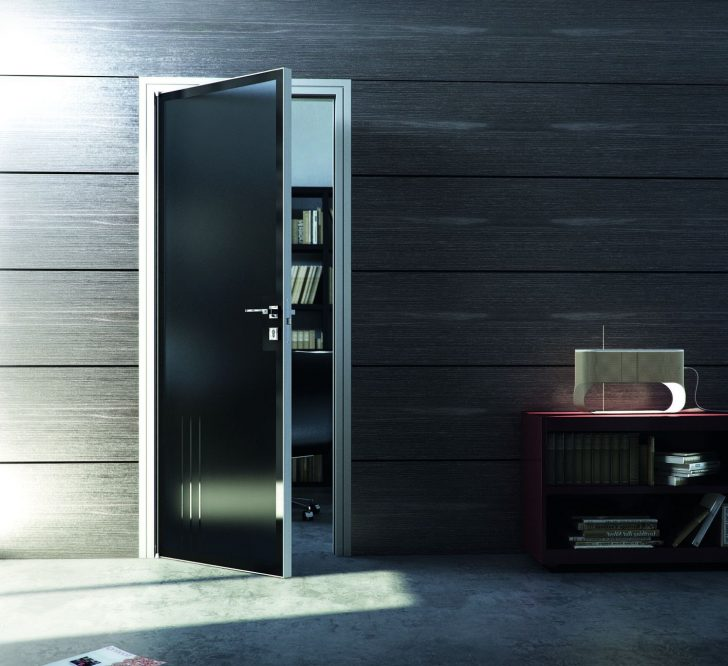 Modern aluminum door with black glass and elegant aluminum frame