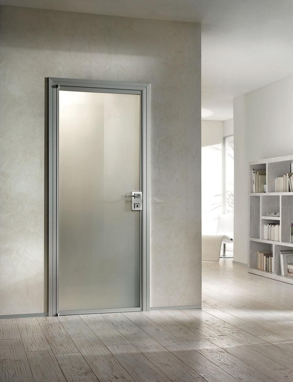 Beautiful aluminium interior door with white frosted glass for Interior glass doors