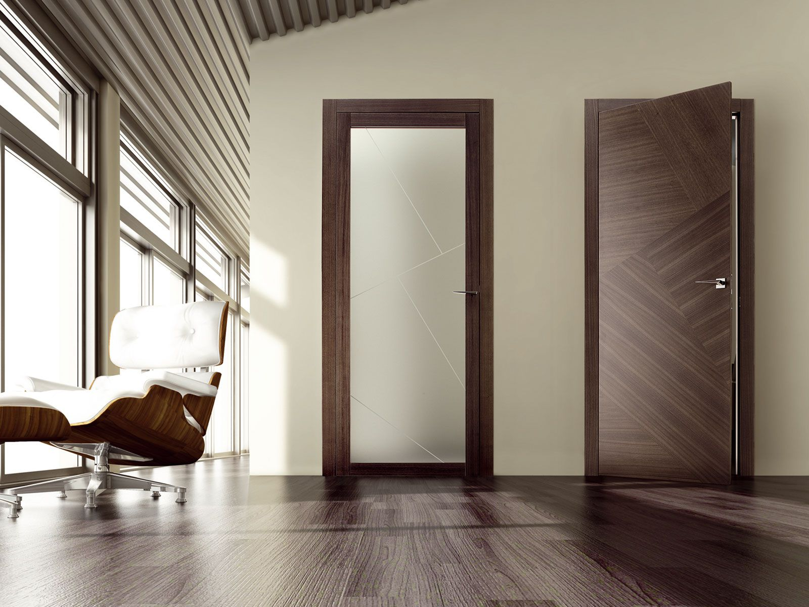 Modern interior design with veneered doors (with glass and without glass)