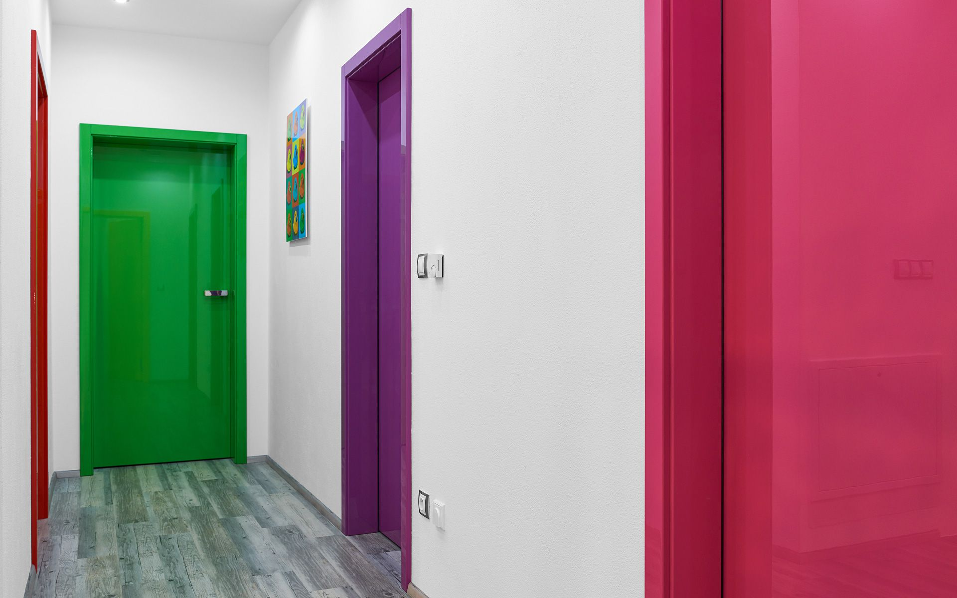 Red green purple and pink paint for interior doors for Painted interior door designs