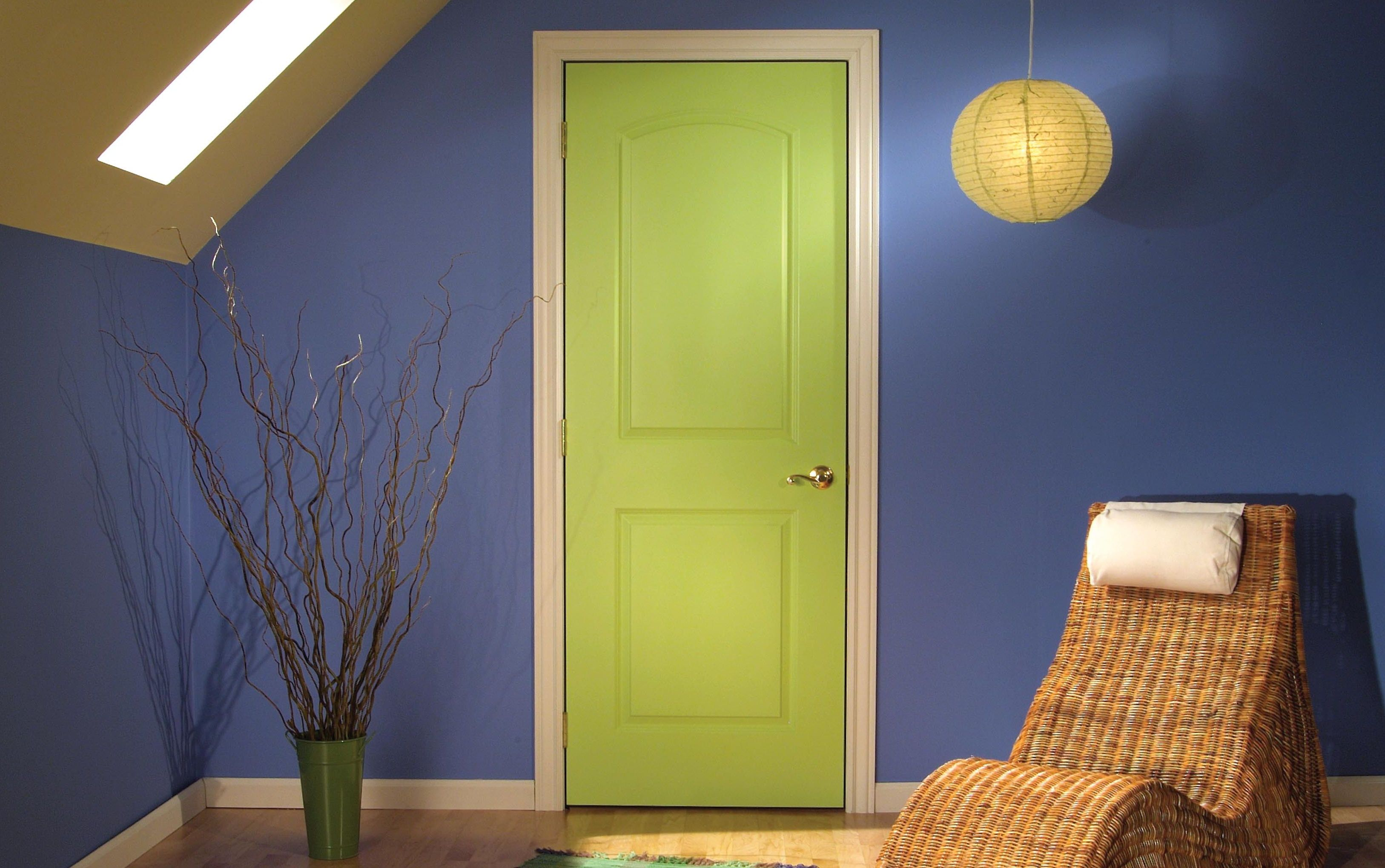 The door is painted in light green color