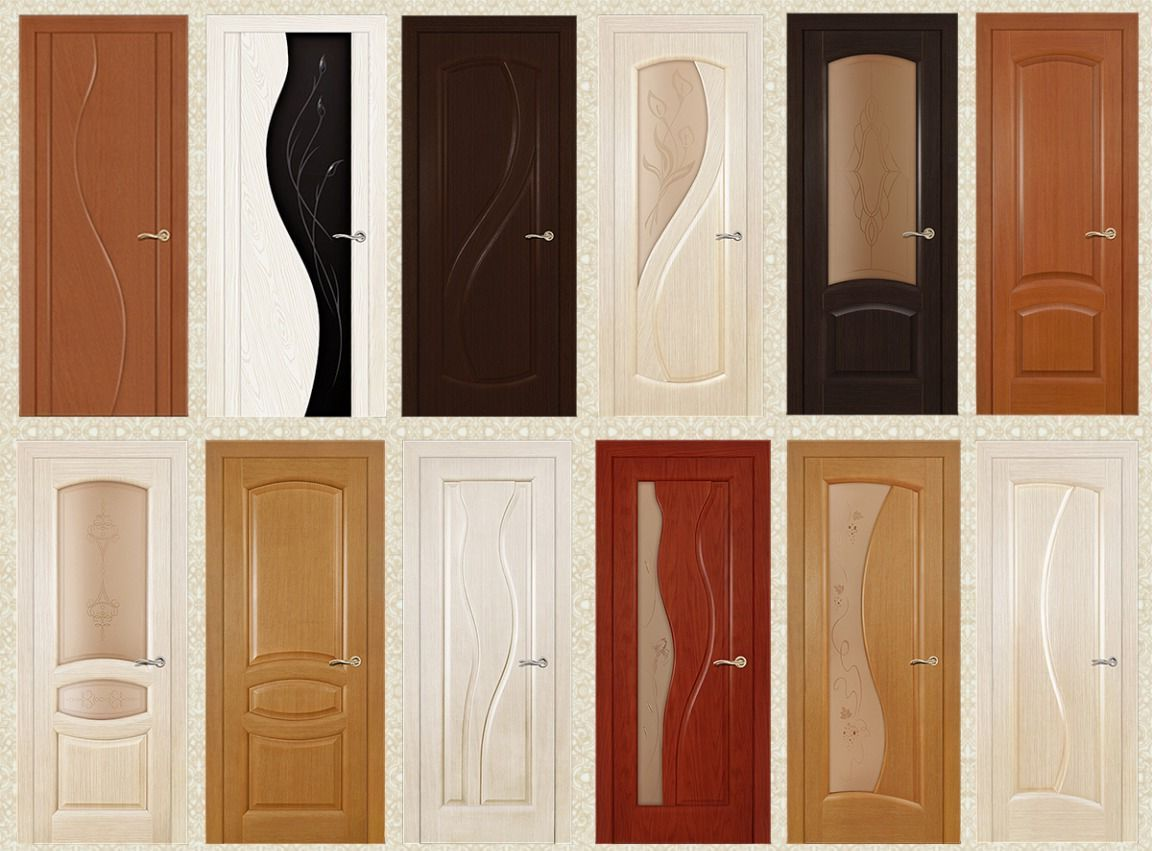 Various styles and colors of veneered interior doors