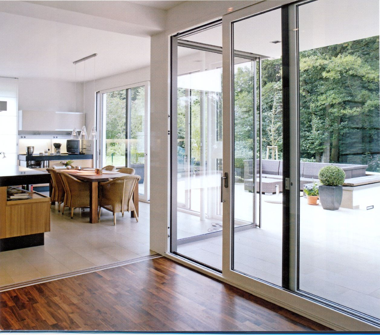 White patio aluminium sliding door with glass