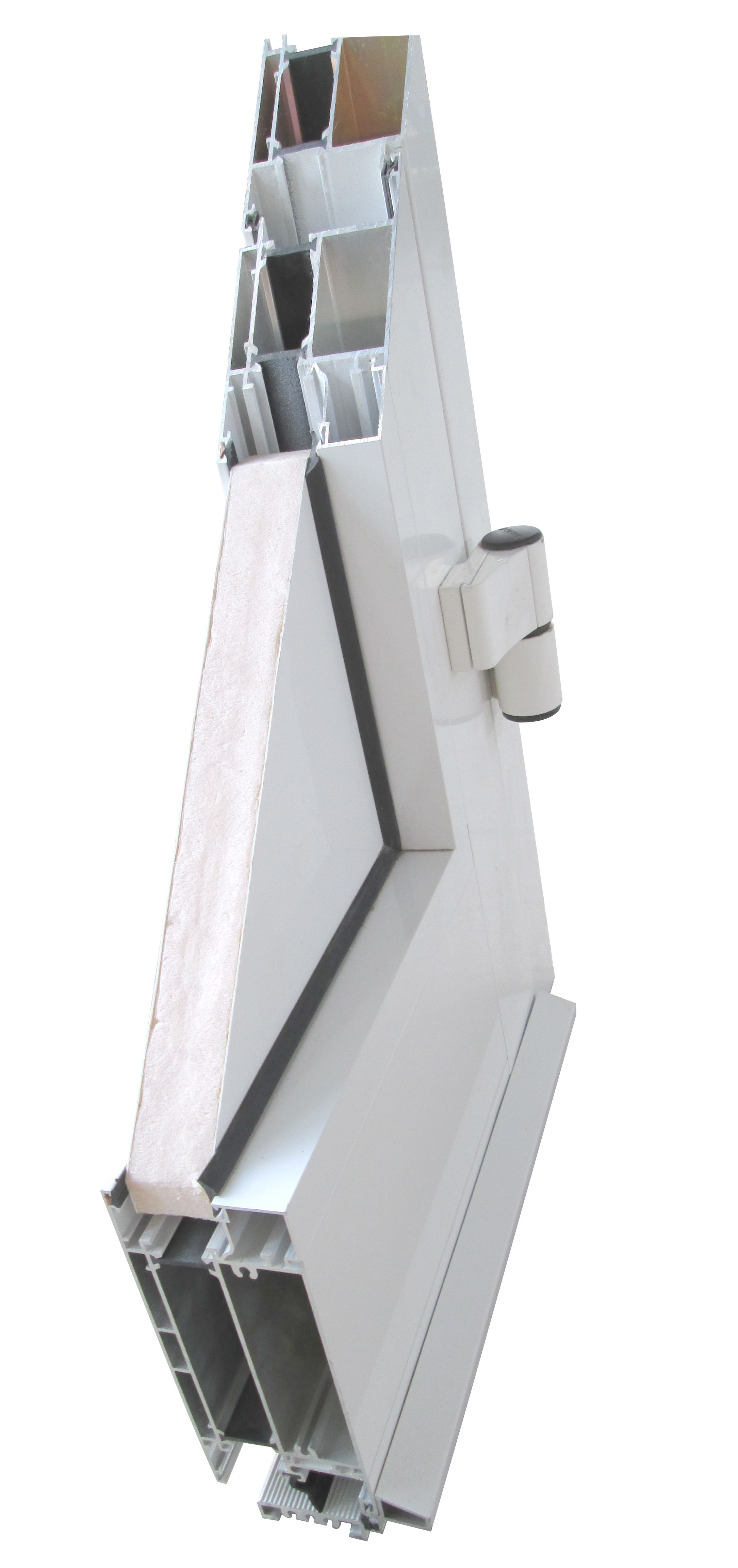 White plastic and aluminium door section