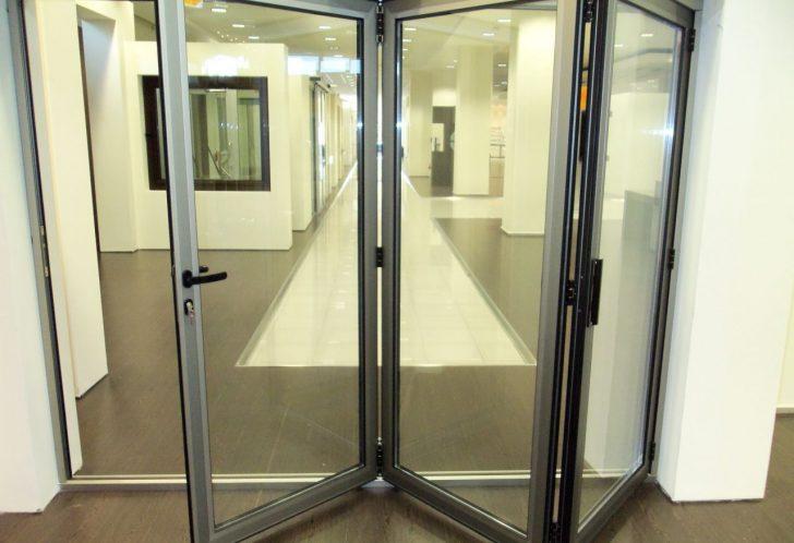 folding interior aluminum door with glass