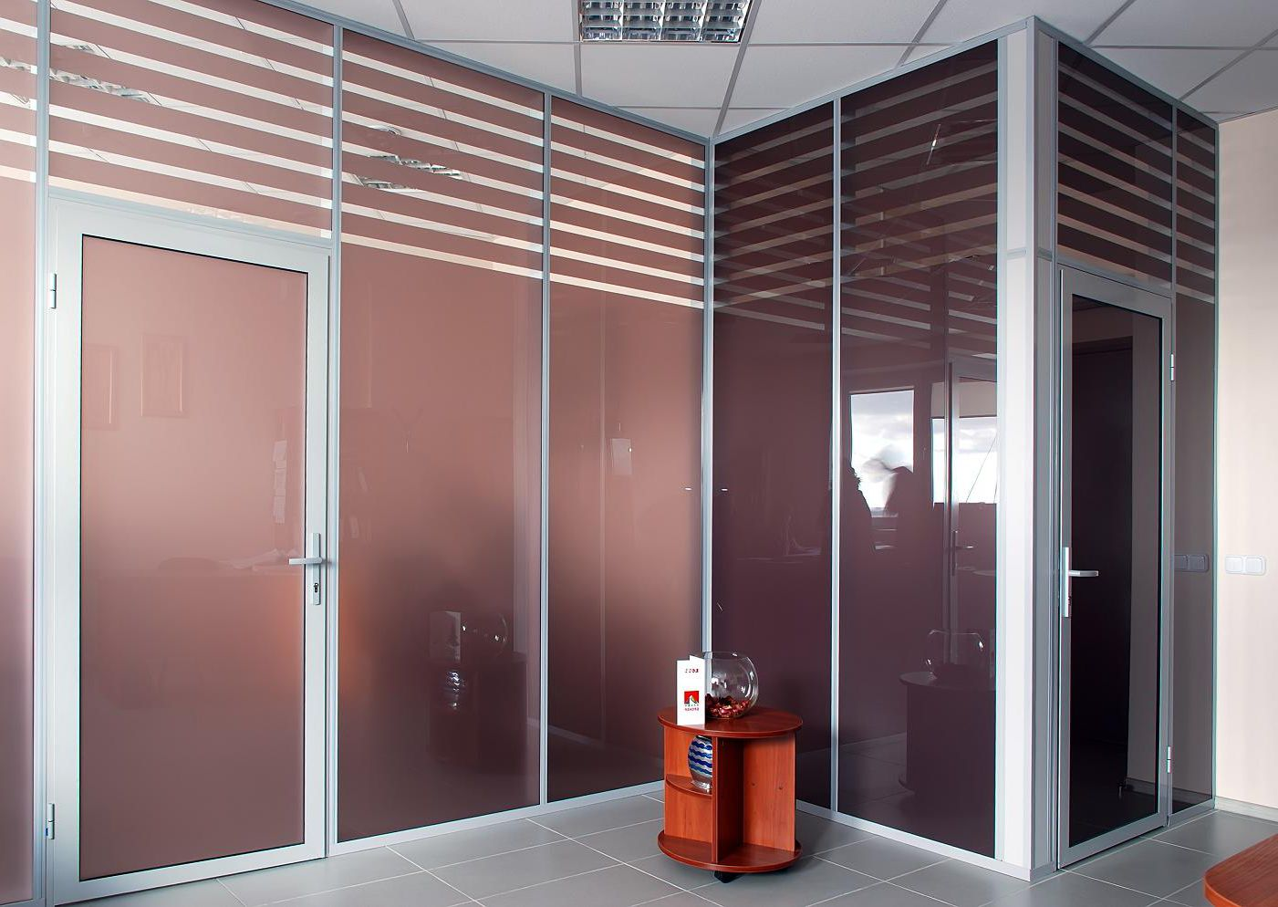 Internal hinged doors with glass