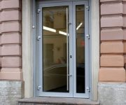 Secure entrance aluminum door with glass