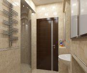 A wooden door in the bathroom