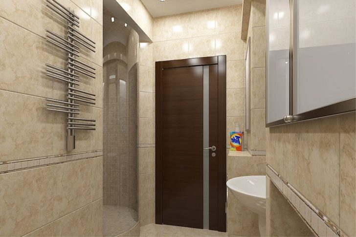 A wooden door in the bathroom