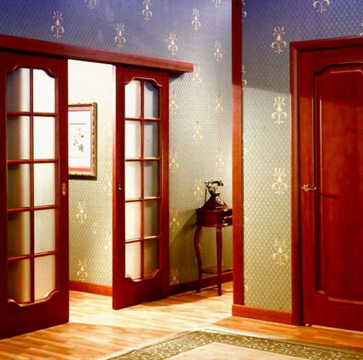 Sliding wooden doors with glass