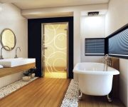 The color and decoration of doors in bathroom and toilet