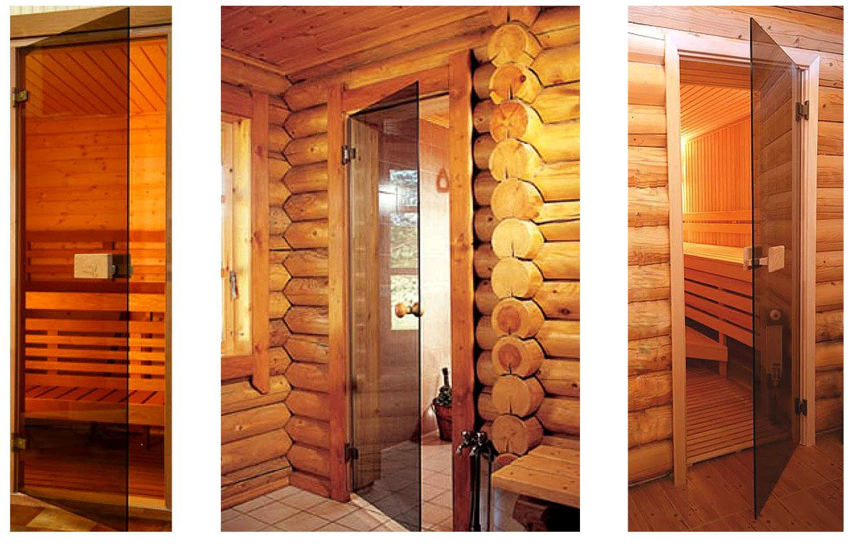 Glass doors for sauna