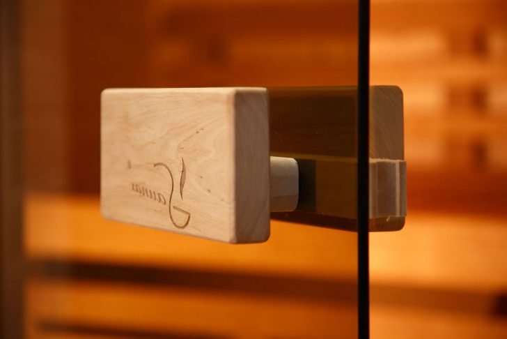 Wooden Handle for glass doors in a sauna