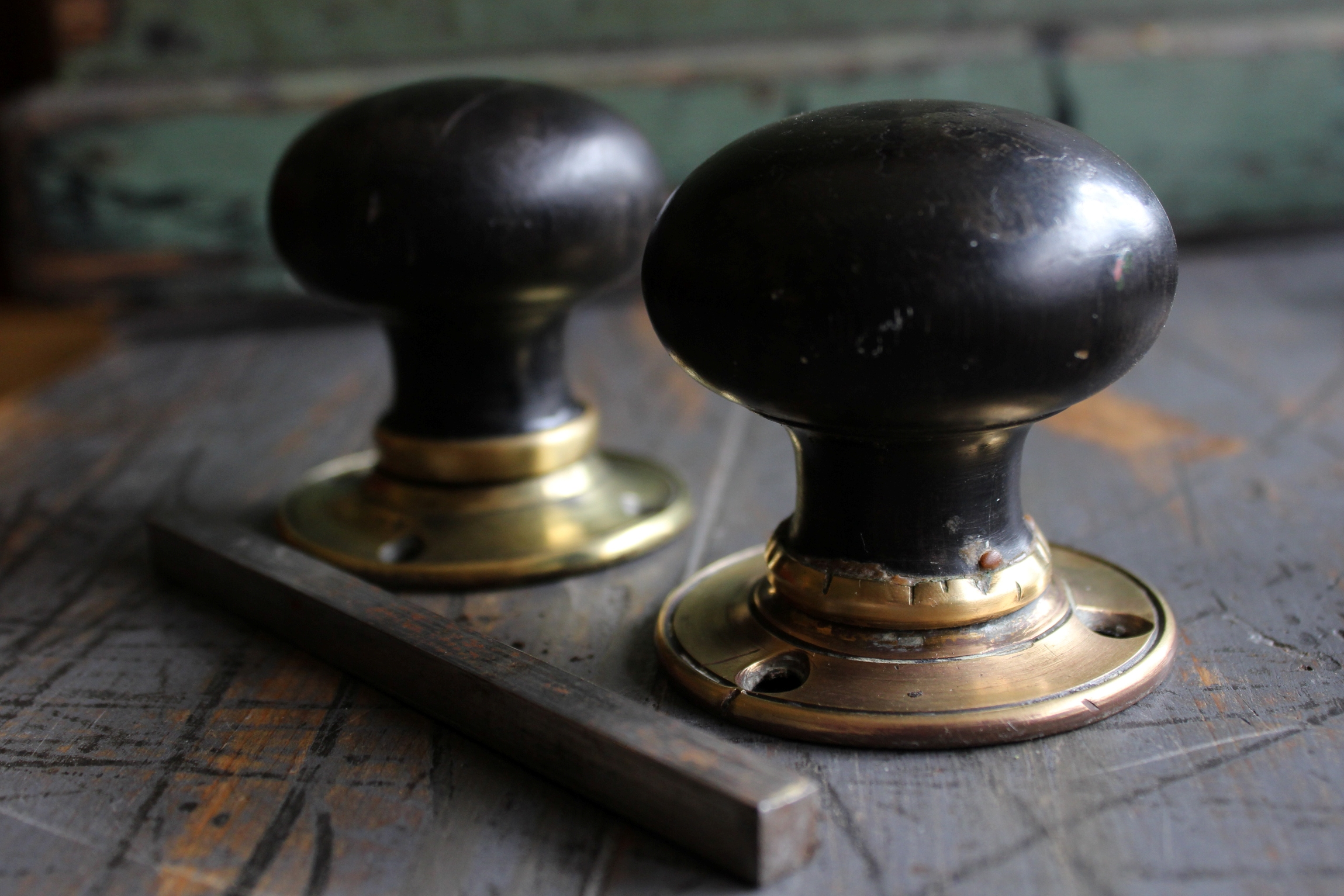 Antique wooden door knobs