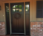 Black Solid wood front door with sidelights