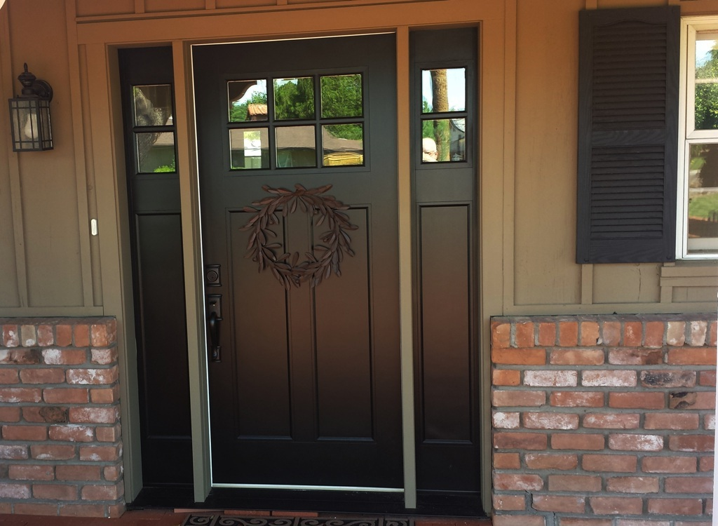 black front door with sidelightsModern Solid Wood Exterior Front Doors