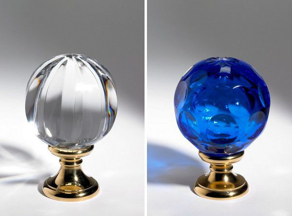 Blue and white glass door knobs