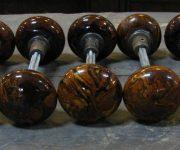Brown mineral door knobs
