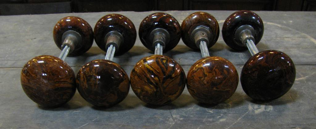 Brown mineral door knobs