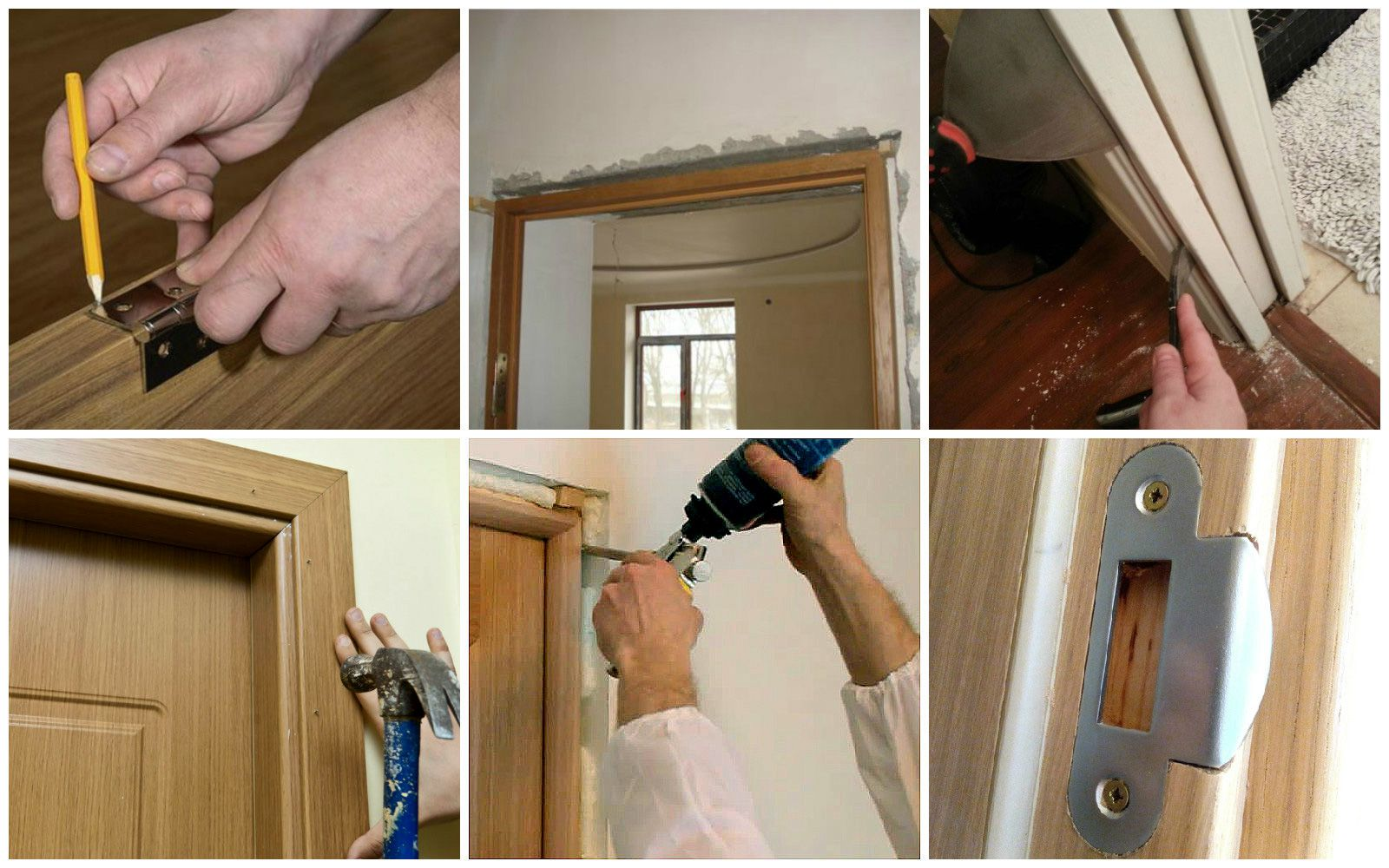 Installation of interior doors with their hands.