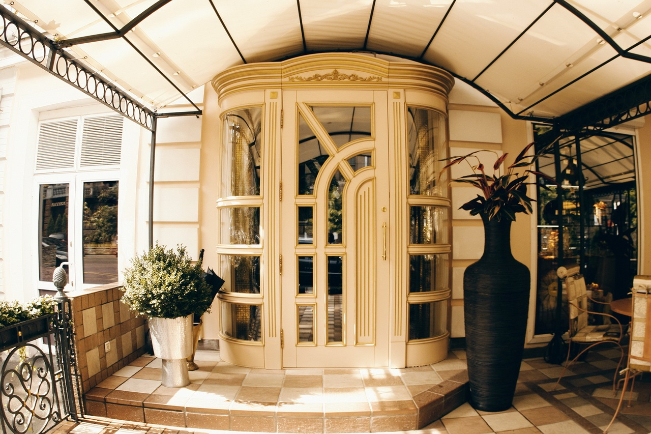 Luxurious entrance vintage doors