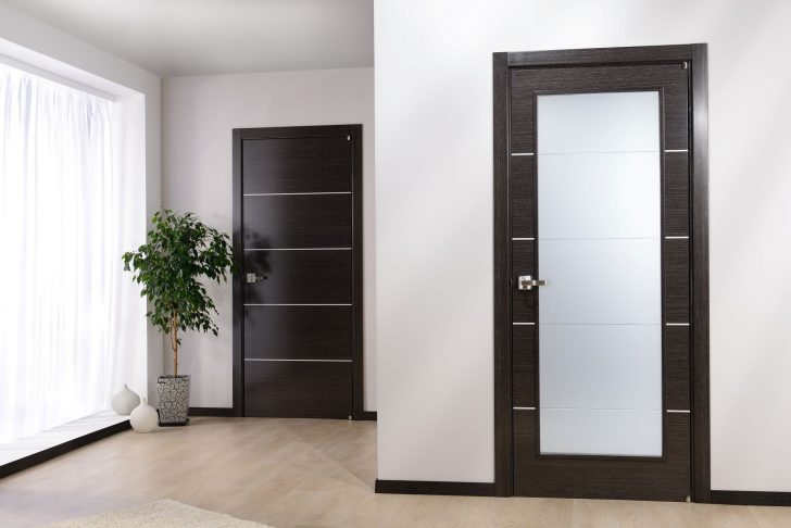 Modern dark door in an apartment with a light floor