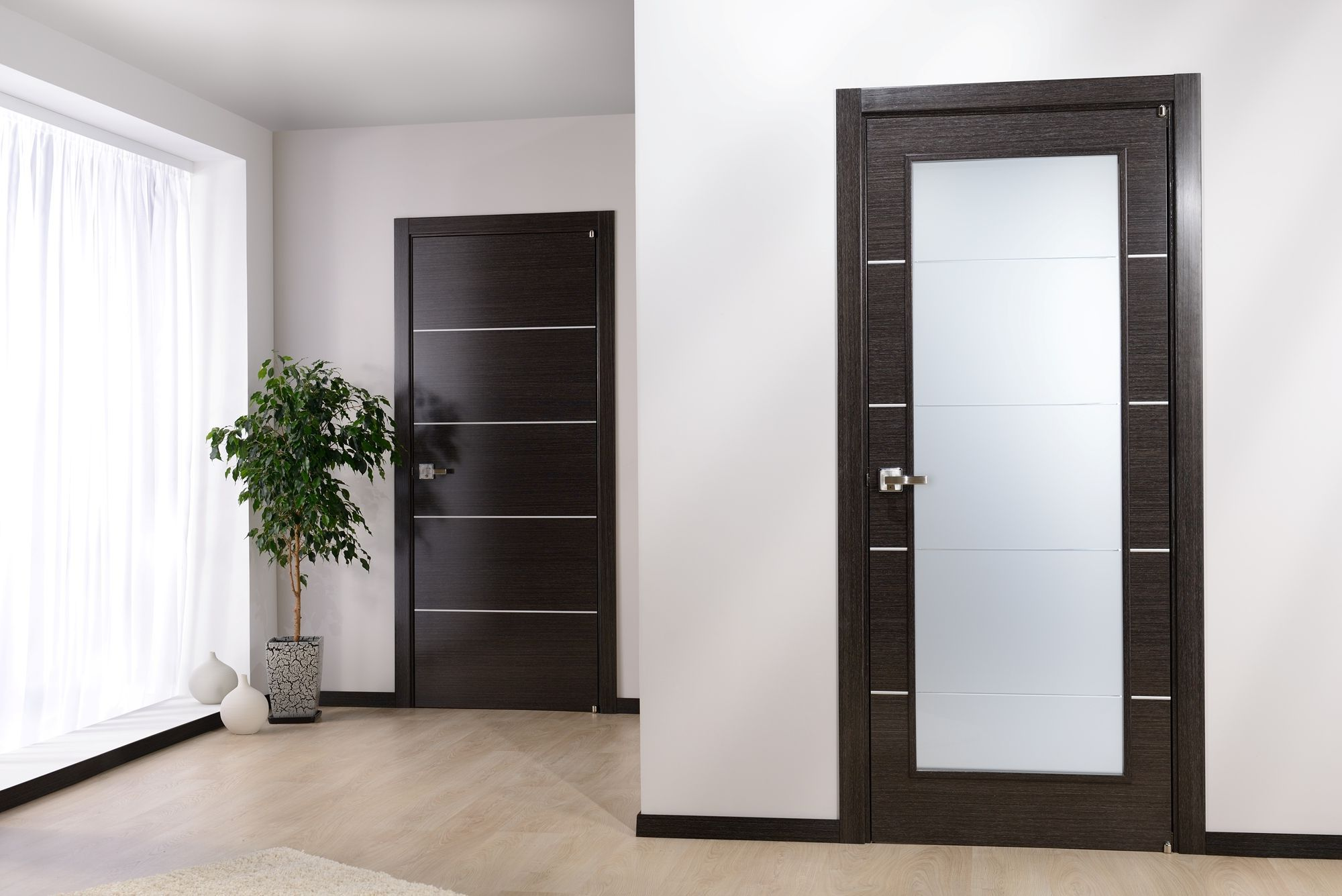 Black entrance and interior doors for your home for Door with light