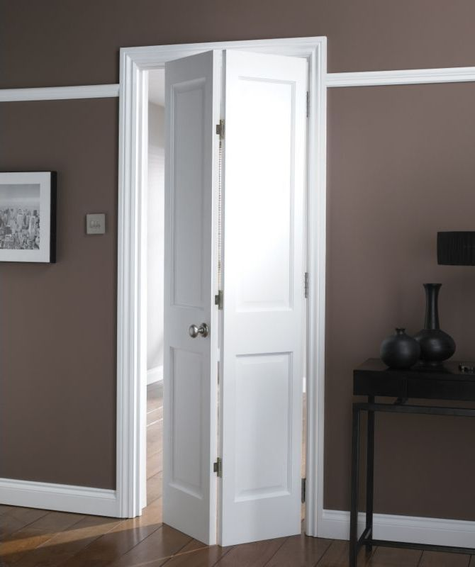 Modern white bi folding interior door