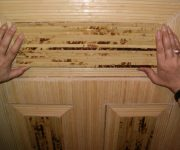 Pasting of doors with bamboo towels