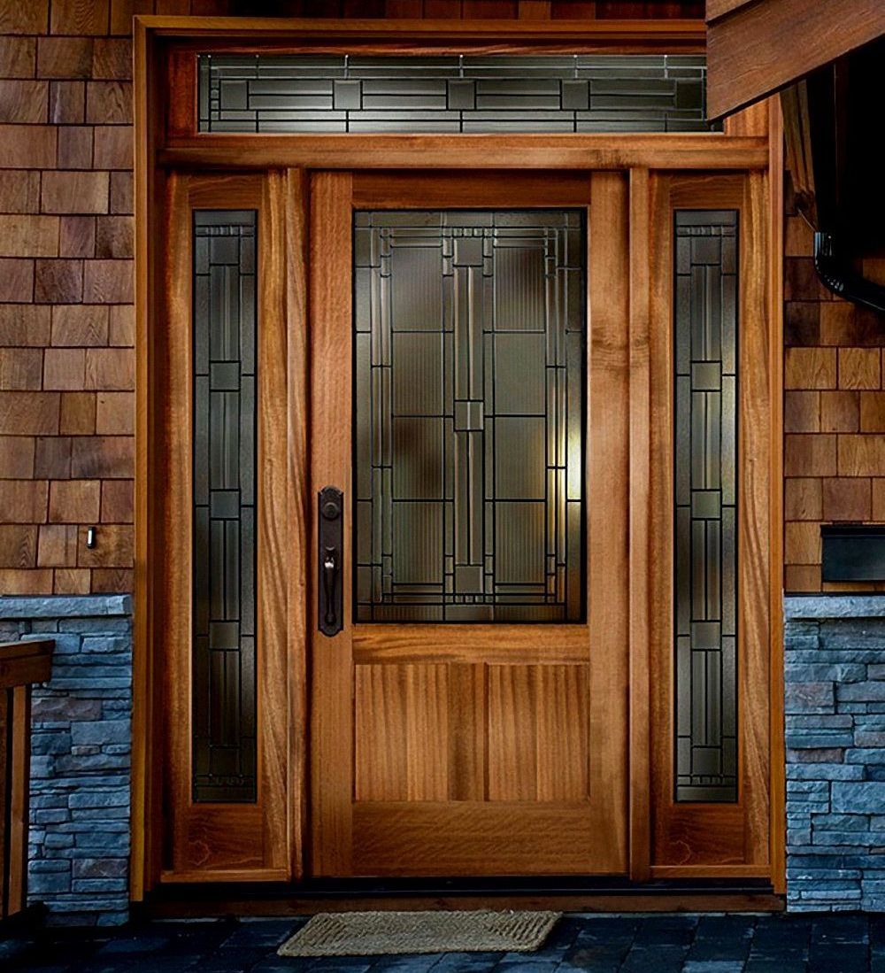Solid wood exterior door for Wooden entrance doors