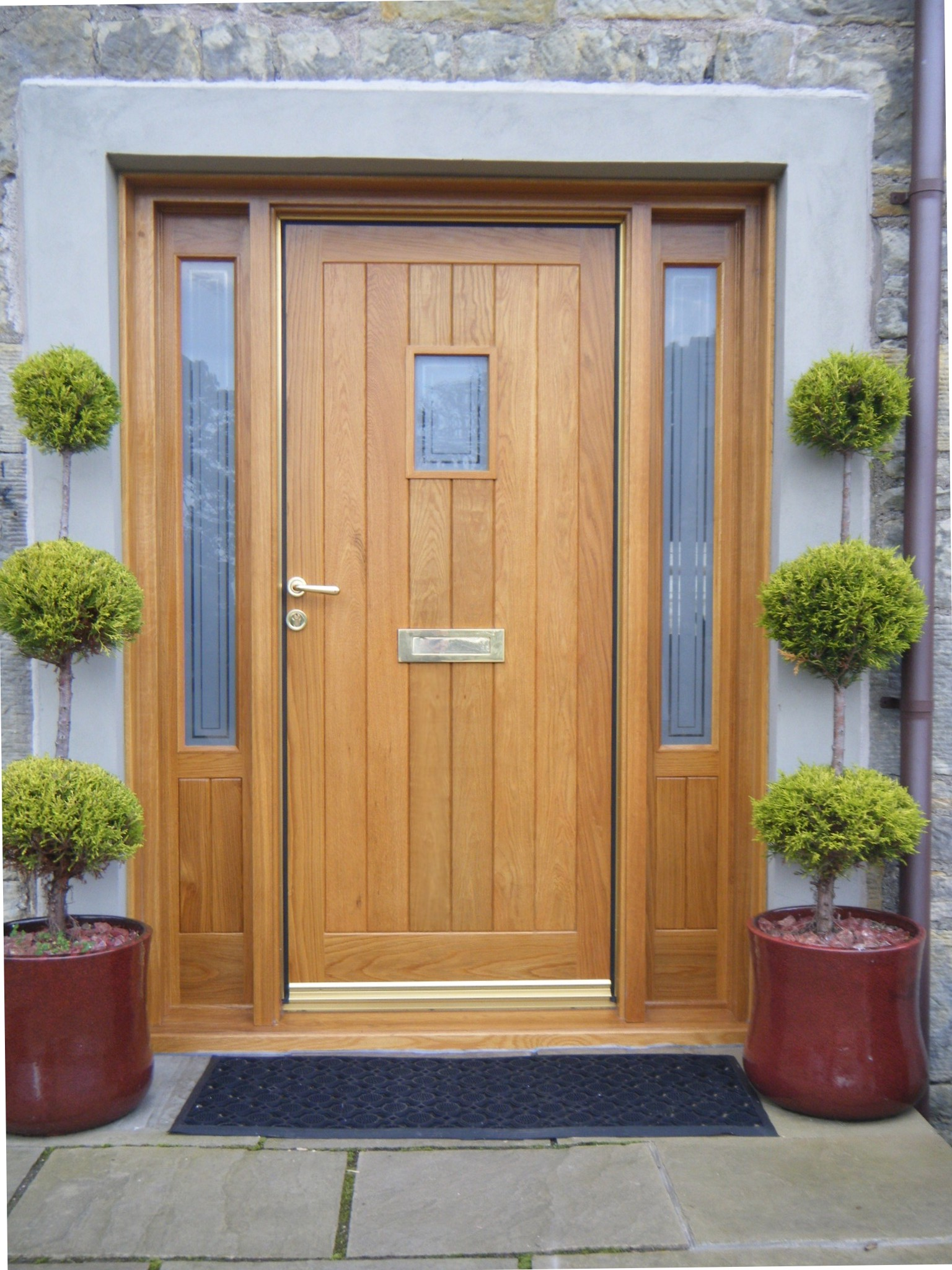 Luxury solid wood front door with glass for Hardwood exterior doors