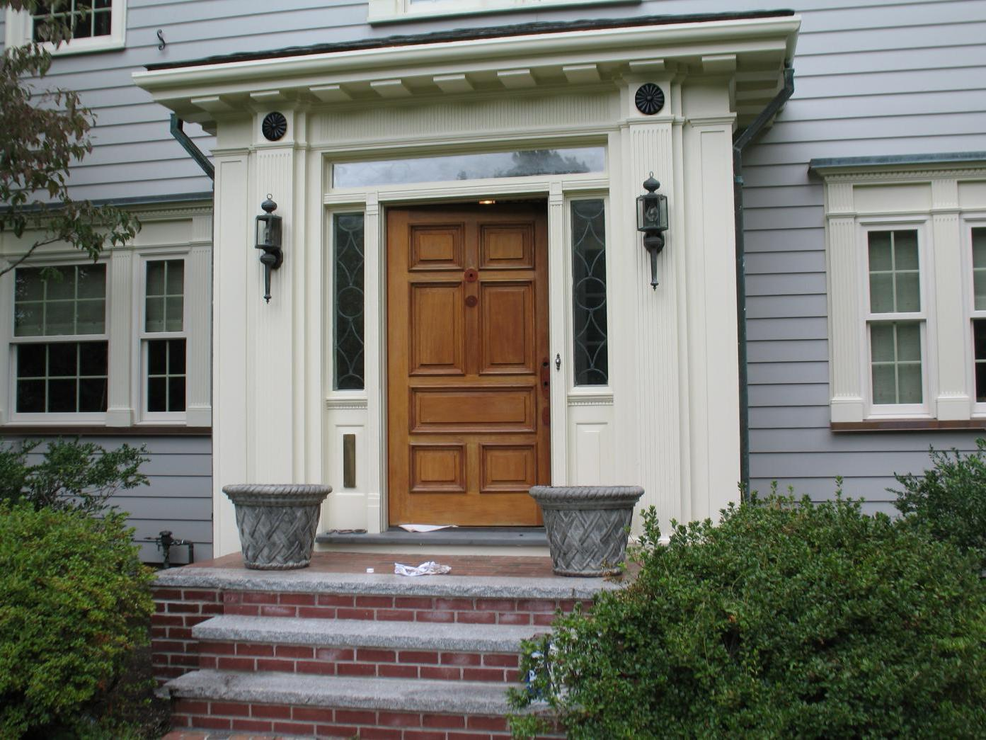 Vintage solid wood front door with glass for Solid hardwood front doors